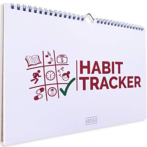 """Habit Tracker Calendar (Undated 12 Month) with Spiral Bound and Hanger, A4 size (8.3""""x11.7""""), Habit Planner, Daily Weekly and Monthly Habit Tracker Journal Habit Calendar Goal Tracker Planner Notepad."""
