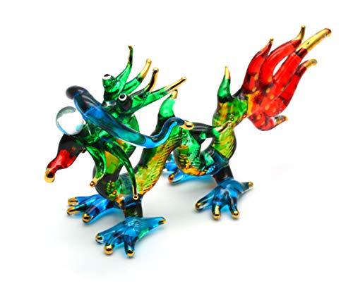 Zoo Craft Hand Blown Glass Figurine Chinese Dragon Handmade Miniature Animal Art