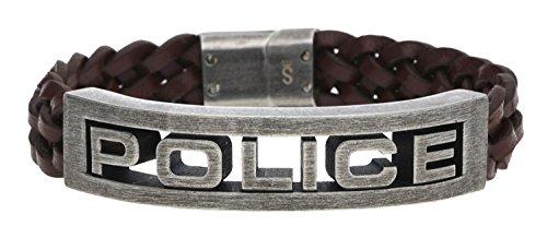 POLICE Leder Armband STAMP Herren Schmuck Edelstahl Braun NEU PJ25489BLC.02-L