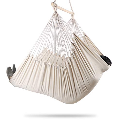 Chihee XXL Hammock Chair Extra Large Sized Hammock Chair Relax Swing Chair Cotton Weave for Superior Comfort Durability Indoor Outdoor Bedroom Patio Yard Garden