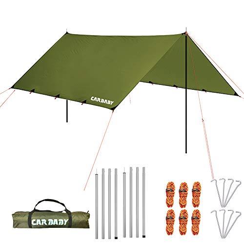 防水タープ キャンプ タープ テント 軽量 日除け 高耐水加工 紫外線カット 遮熱 サンシェルター ポータブル 天幕 シェード アウトドア 収納ケース付 2-6人用 (本体)