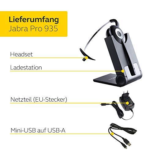 Jabra Pro 935 MS Bluetooth On-Ear Mono Headset - Skype for Business zertifiziert - mit Geräuschunterdrückung - verwendbar mit Softphones und mobilen Endgeräten - EU-Stecker