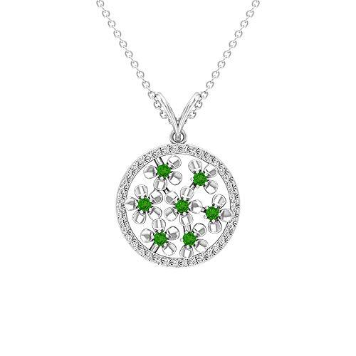Colgante personalizado de 0,60 quilates de Tsavorita creado en laboratorio con diamantes certificados en círculo abierto, oro de 14 quilates, colgante de piedra natal de mayo, colgante de cadena verde