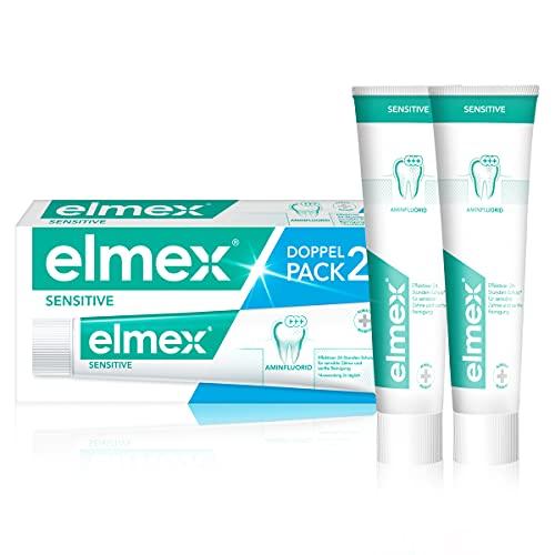 elmex Zahnpasta sensitive, Doppelpack (2 x 75 ml) - Zahncreme pflegt und schützt schmerzempfindliche Zähne