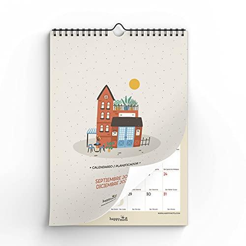 HappyMots - Calendario Pared 2021-2022 - 16 meses (Septiembre 2021 - Diciembre 2022) - Calendario Pared Grande Tamaño A3 - Tu Mes de un Vistazo. Planificar Y Organizar son la Base Éxito. (1)
