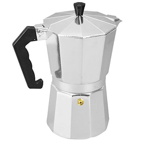 Gazechimp Metall Espressokocher | Mokkakanne | Mocca-Kocher | Kaffeekocher - Silber, 12 Tassen