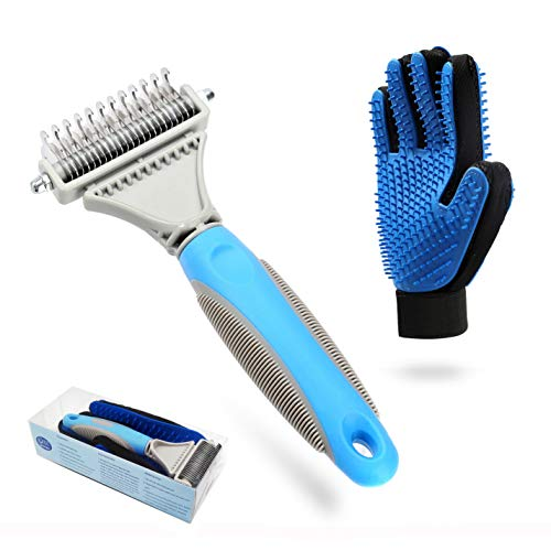 Beiker Professional Pet Dematting Tools Set for Dogs and Cats, Shedding Comb Easy Remove Tangle and Mats for Long Hair Dog, Undercoat Rake and Premium 2 Sided Pet Glove