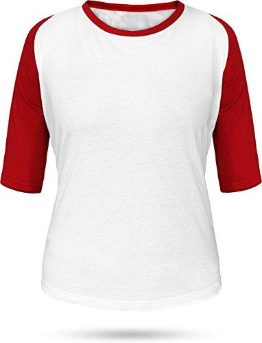 normani Baseball/Kontrast Shirt | 3/4 Arm für Damen Farbe Weiß/Rot Größe M