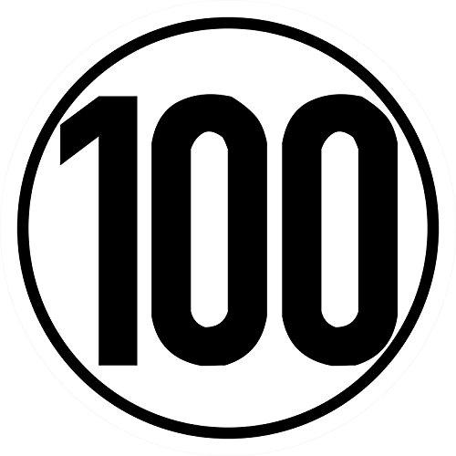 Geschwindigkeitsschild 100 km/h, 20cm nach §58 StVZO, Folienaufkleber zur Anbringung Karosserie aussen, Aufkleber, Geschwindigkeit, rund, für Traktor, LKW, Rollstuhl,