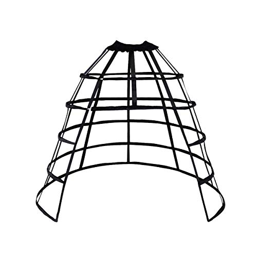 HappyStory Cage Hoop Skirt Petticoat Dress Pannier 5 Hoops Bustle Cage Crinoline (Black Open-0.5)