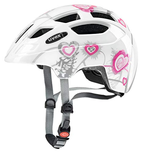 Uvex finale Junior casco da bicicletta, Unisex, finale junior, Heart White Pink, 51-55 cm