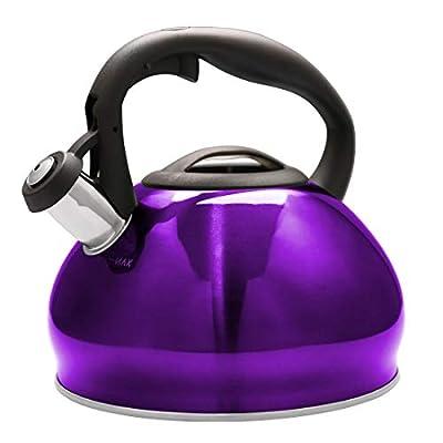 VICALINA Tea Kettle 3.4 Quart Whistling Stainless Steel TeaPot for Stovetop Heat-resistant ergonomic handle (Purple)