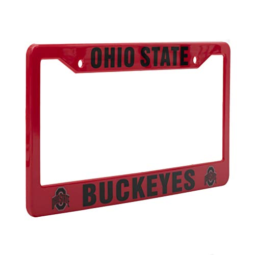 """EliteAuto3K Ohio State Buckeyes License Plate Frame – Red & Black – 12.25"""" x 6.25"""" - NCAA Car Accessory for Sports Fans & Supporters – Slim Design"""
