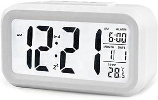 Generic Smart LED Backlight Digital Alarm Clock Snooze Mute Calendar for Bedroom Desktop Electronic Table Clocks 12/24H