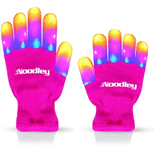 The Noodley LED Gloves for Kids Light Up Gift Toys for Girls Size Ages 4-7 (Small, Pink)