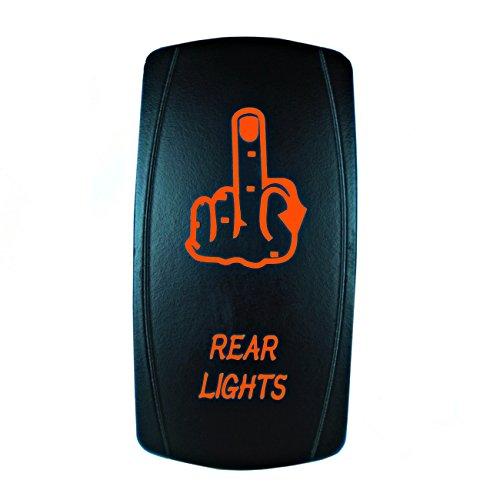 STVMotorsports 5 Broches Laser Interrupteur à Bascule arrière (Moyen Lumières Finger) on/Off LED 12V 20A Taille Unique Orange