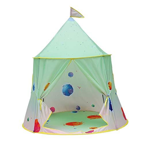 FCFLXJ Niños Plegables Play Carpa, Castillo de Príncipe de Verano Pop Tienda, Playa de Juegos para Interiores y Exteriores, Adecuado para 2-3 Personas,Verde