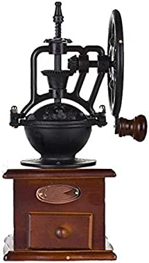 Manual Coffee Grinder Antique Cast Iron Hand Crank Coffee Mill With Grind Settings & Catch Drawer (Color : Brown)