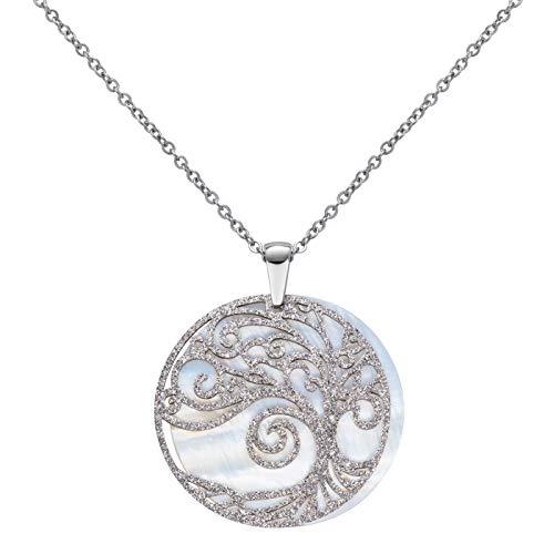 Perlkönig | Damen Frauen | Kette mit Anhänger | Silber | Rund mit Amulett | Glitzer Steine | Nickelabgabefrei