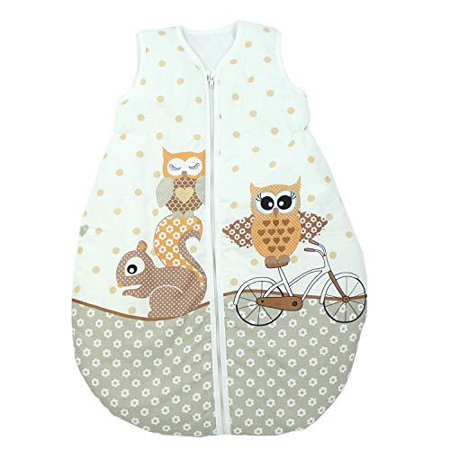TupTam TupTam Unisex Baby Schlafsack ohne Ärmel Wattiert, Farbe: Eulen 2 Beige, Größe: 92-98