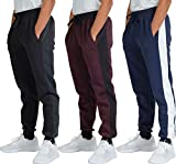 3 Pack: Boys Girls Youth Teen Active Athletic Basic Soft Tech Sports Fleece Jogger Soccer Track Gym Running Slim Fit Tapered Sweatpants Casual French Terry Quick Dry Fit Pockets-Set 6,M(10/12)