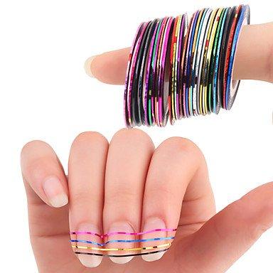 MZP 30pcs Mélangé coloré Bandes autocollantes ruban adhésif bouts DIY Autocollant d'ongle Décorations