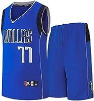 FJH メンズバスケットボールジャージスーツ、#77バスケットボールジャージセット、夏スウィングマンユニセックスノースリーブトップベストTシャツとショーツ、ファンのギフト (Color : Blue, Size : XX-Large)