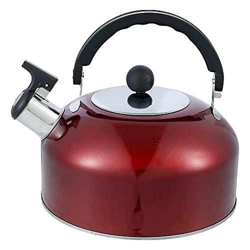 harupink 3L Flötenkessel,Wasserkessel Teekessel Wasserkocher Pfeifkessel Edelstahl Teekanne mit Griff für Herd Küche Drinnen Draußen Wandern Picknick Camping Gasherd (rot)