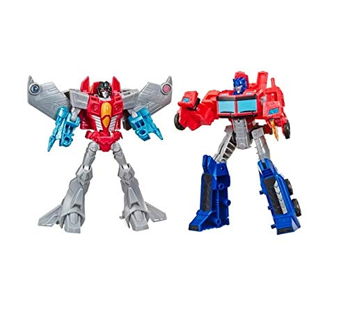 Hasbro Transformers Spielzeuge Cyberverse Warrior Action Attackers Optimus Prime und Starscream Action-Figur 2er-Pack – Für Kinder ab 6 Jahren, 13,5 cm