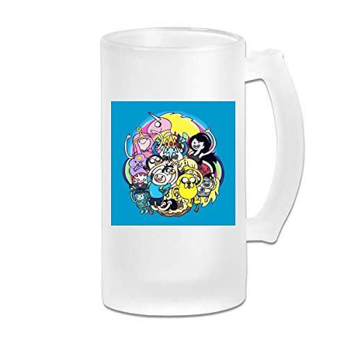DJNGN Taza de jarra de cerveza de vidrio esmerilado de 16 oz impresa Taza de dibujos animados de Hora de aventura - Taza gráfica