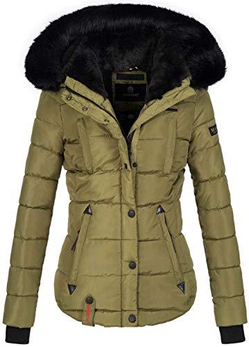 Marikoo warme Damen Winter Jacke Winterjacke Steppjacke gefüttert Kunstfell B618 [B618-Lotus-Grün-Gr.S]