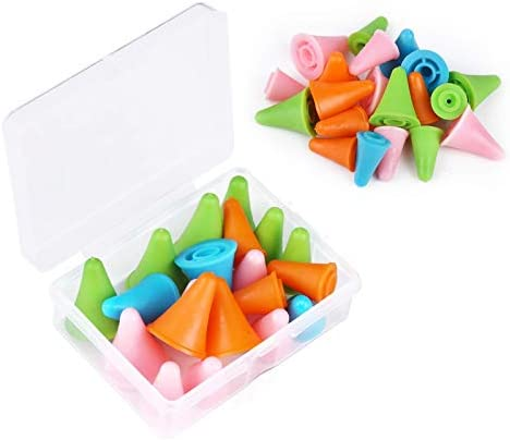 20 PCS Mixed Color Knitting Needles Point Protectors Stoppers with Plastic Box Include 10 Small product image