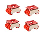 HOMEPRODUCTS4U 6-Wheels Roller Moving Castor (Orange, 50 mm) 4 Pieces in 1 Box