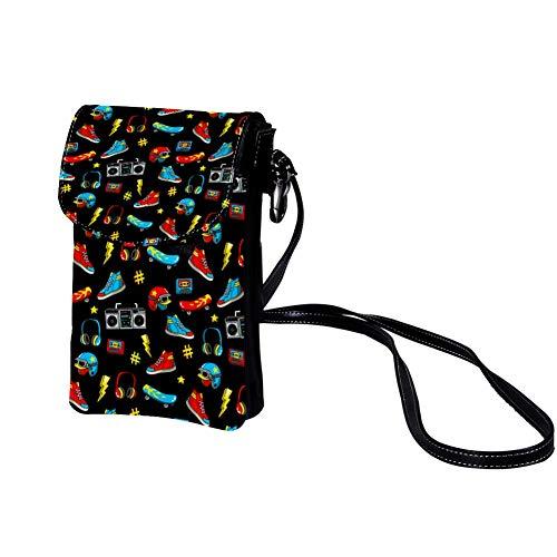 Xingruyun Kleine Umhängetasche Schuhe Helm Lautsprecher Leder Handtasche Mini Handy Schultertasche Cross-Body Tasche Geldbörse Für Mädchen Frauen 19x12x2cm