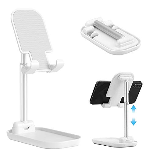 Upgraded Cell Phone Stand for Desk, Foldable Adjustable Desktop Phone Holder Cradle Dock for Home Office Travel Compatible with Smartphone Android, iPhone 11 Xs XR 8 7 Plus, Tablet iPad (White)