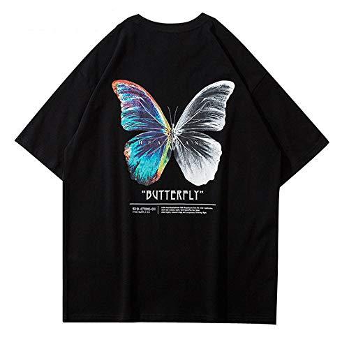 Butterfly Print Kurzarm T-Shirts Streetwear Hip Hop Casual Loose Fashion T-Shirts Herren Harajuku Summer Tops Male