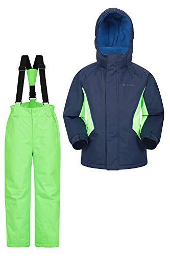 Mountain Warehouse Kinder-Skijacke- und Hosen-Set - Schneesicher, Vordertaschen, Fleece gefüttert, Integrierter Schneefang - ideal für Snowboarden im Winter Marineblau 140 (9-10 Jahre)