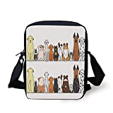 Dog Lover Decor,Multicultural Dog Family in a Row from Back and Front Views Companionship Comic Art,Yellow Brown Print Kids Crossbody Messenger Bag Purse