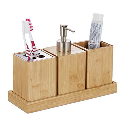Relaxdays Badaccessoires Set, 4-teilig, Bambus, Pumpseifenspender, Zahnputzbecher, Zahnbürstenhalter, mit Schale, Natur