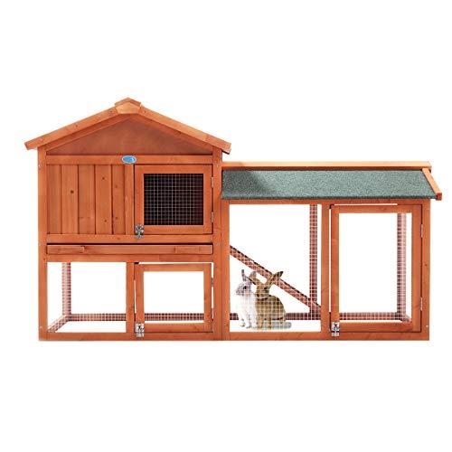 """JAXPETY New 58""""Chicken Coop Wooden Bunny Rabbit Hutch w/Run Rest Box, Orange"""