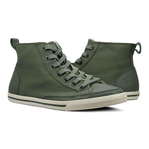 Burnetie Men's Olive Solid Plaid High Top Vintage Sneaker (11.5 M US Men)