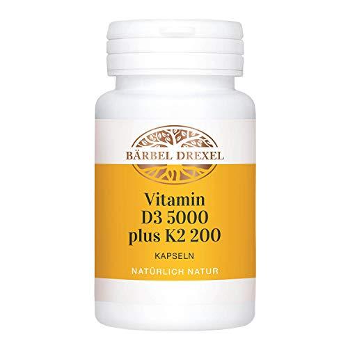 BÄRBEL DREXEL® Vitamin D3 K2 Hochdosiert Premium Kapseln, All Trans MK7 (90 Stk) 100% Vegetarische Herstellung Deutschland Immunsystem, Vitamin-D3-Mangel, Sonnenvitamine, 5.000 IE D3 und 200 mcg K2