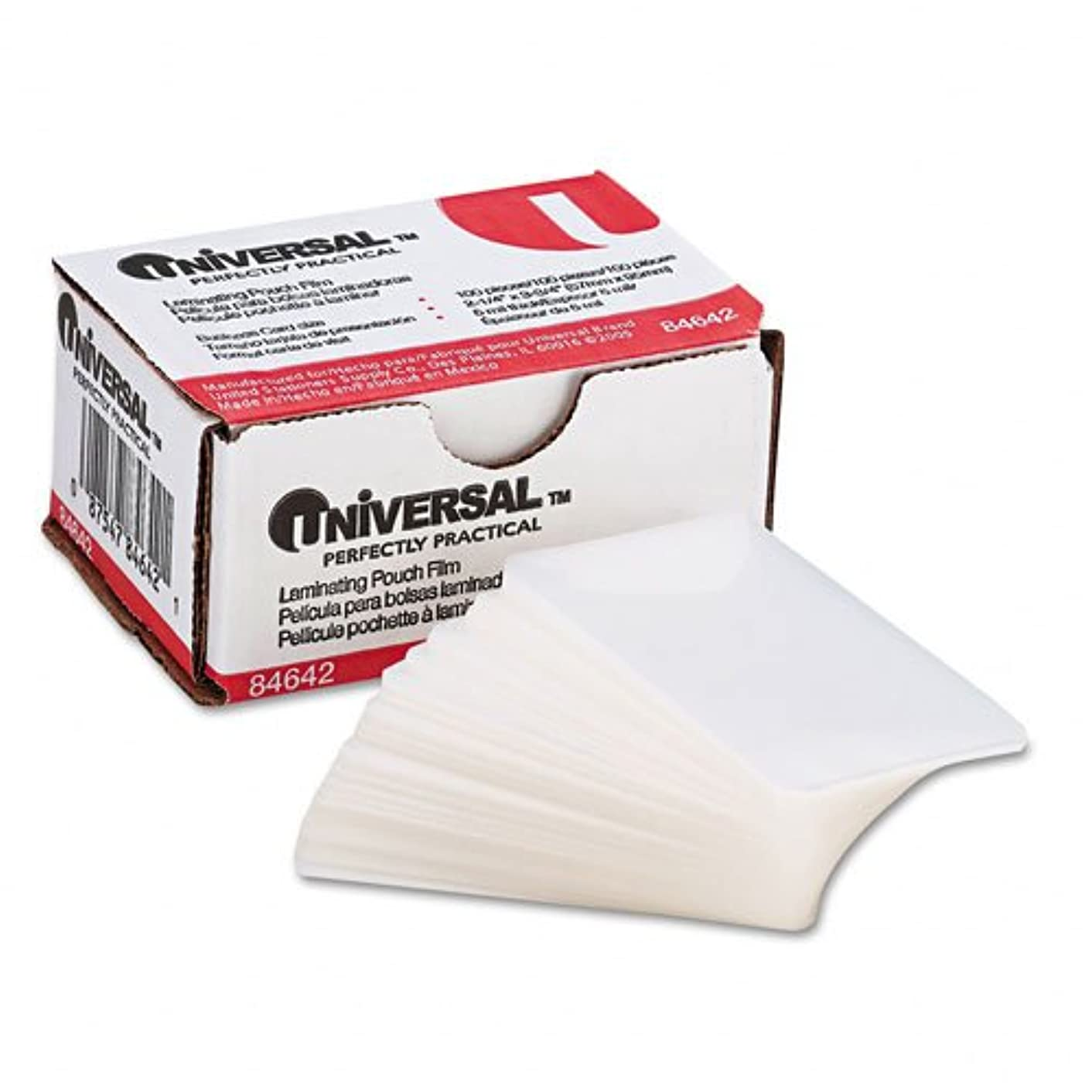 Universal : Clear Laminating Pouches, 5mm, 2-3/16 x 3-11/16, 100/box -:- Sold as 2 Packs of - 100 - / - Total of 200 Each