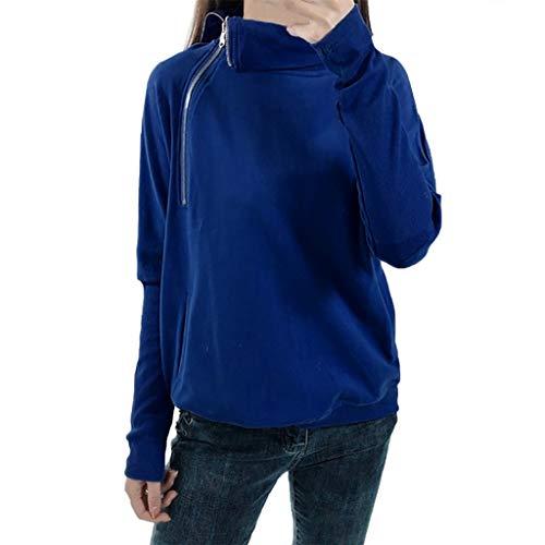 Linkay Damen Kapuzenpullover Sweatjacke Hoher Kragen Tasche Hoodie mit Zipp Taschen Fleece-Innenseite und Cross-Over-Kragen Kapuzenpullover (Blau,X-Large)
