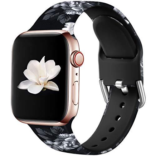 Wepro Kompatibel mit Apple Watch Armband 38mm 40mm, Weiches Silikon Muster Bedruckt Ersatz Armband für Apple Watch SE / iWatch Series 6 5 4 3 2 1, 38mm/40mm M/L, Graues Blumenmuster