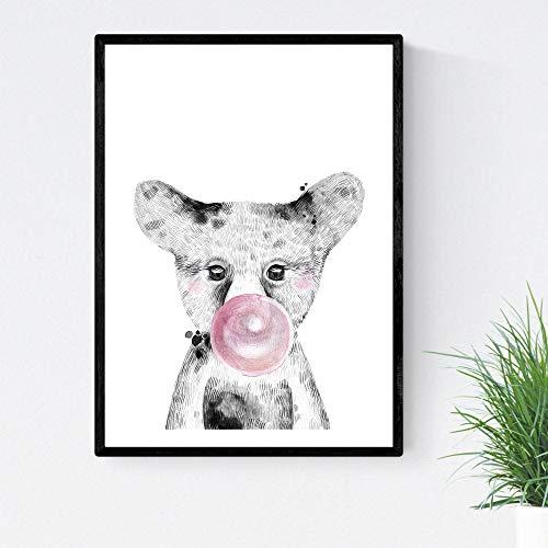 Kinderen Baby Beer poster Bubblegum roze vel met A4-formaat kinderen huisdieren Unframed