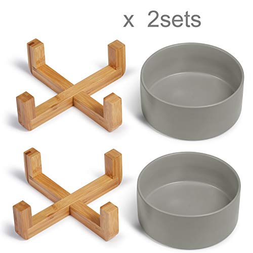 Supremery 2X Futternapf Katze mit Bambus Halter - Futterstation 2X Keramiknapf für Katzen Hunde - Keramik Fressnapf Set Futterbar mit Holz Halterung