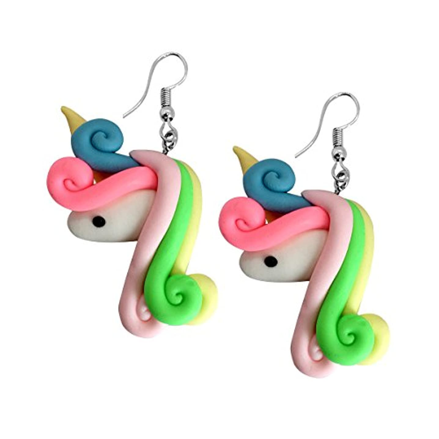 Adeley Cute Colorful Unicorn Handmade Polymer Clay Dangle Earrings for Girls Teens Women
