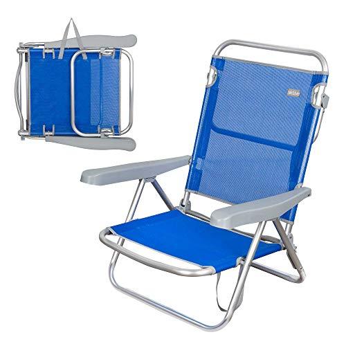 Aktive 62607 - Silla de playa azul plegable 5 posiciones 61 x 48 x 80 cm