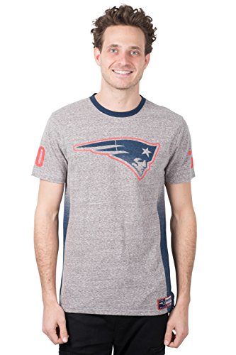 Ultra Game NFL New England Patriots Mens Vintage Ringer Short Sleeve Tee Shirt, Gray, Large